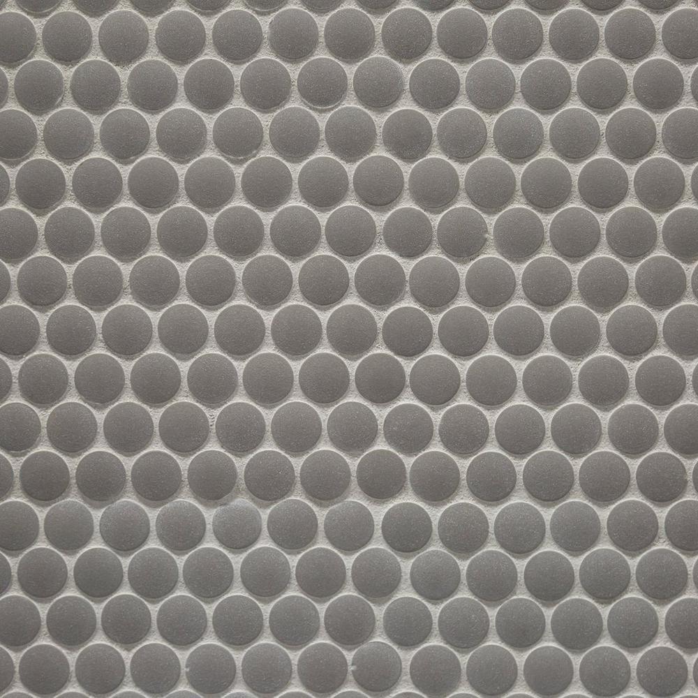 Unglazed Light Gray Penny Porcelain Mosaic Porcelain
