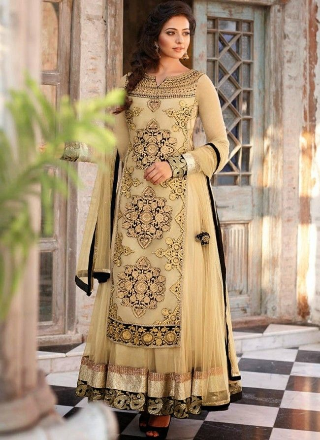 dfa44148c7 Black and gold anarkali dress by Rakul Preet Singh. | Indian Outfits ...