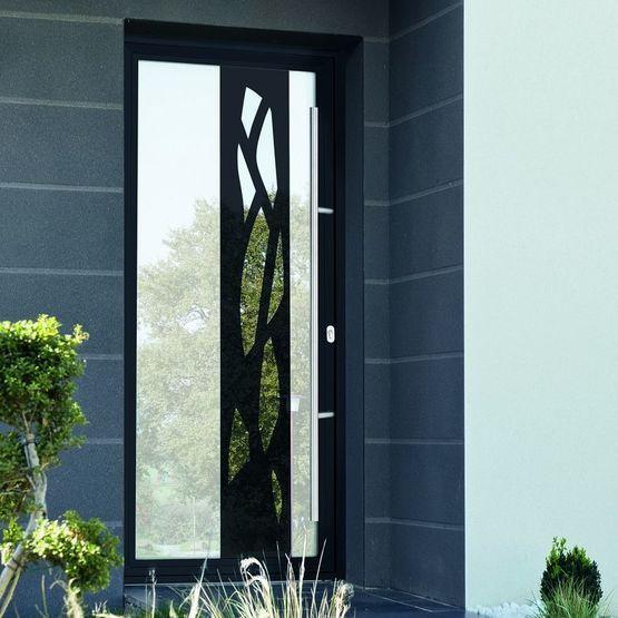 Portes du0027entrée vitrée avec effet miroir et monoblocs avec grands - porte coulissante sur mesure prix