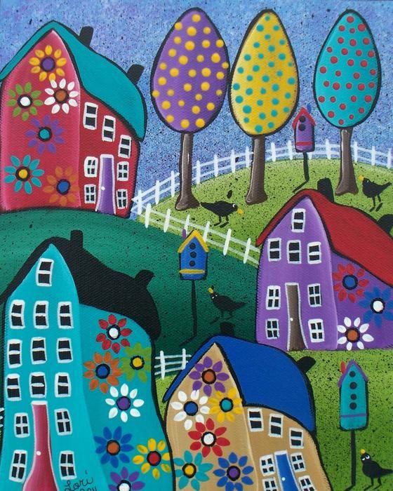 Whimsical Town Painting Whimsical Town Fine Art Print United Folk Fineartamerica Com