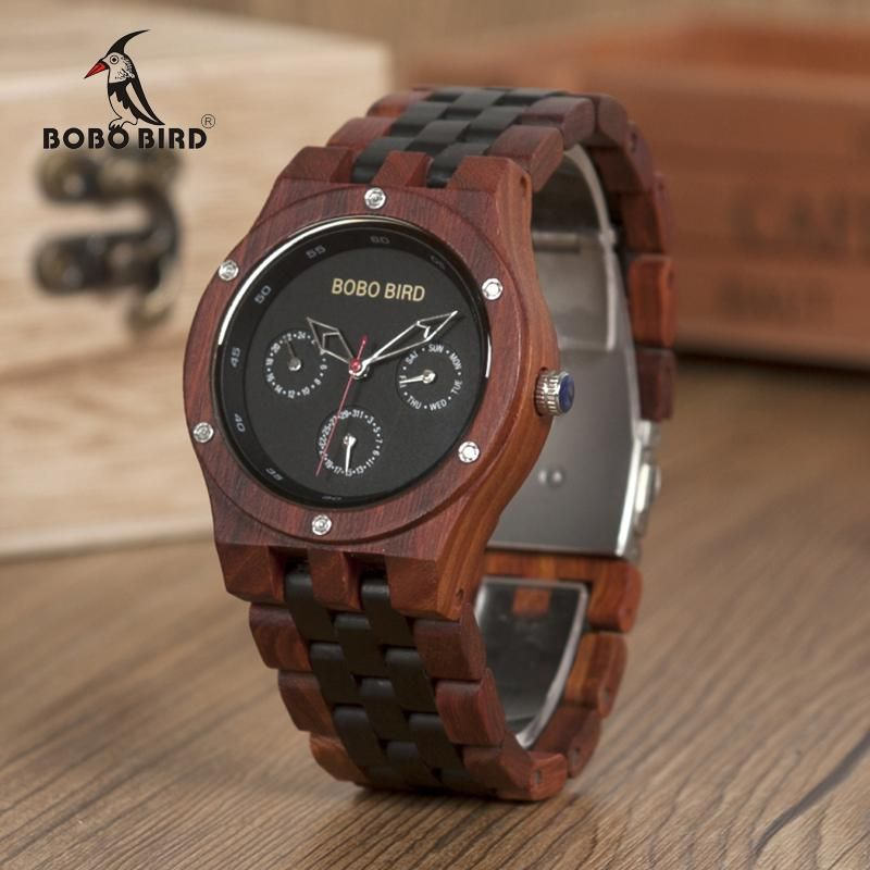 BOBO BIRD WN17 Wooden Watches Mens Brand Designer Luxury Two Colors Wood Band Watch Logo Laser Customized Gift Box Dropshipping