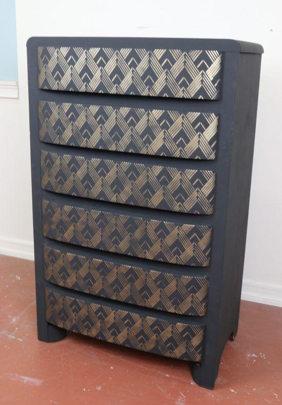 Put An Art Deco Spin On An Old Dresser Using Stenc