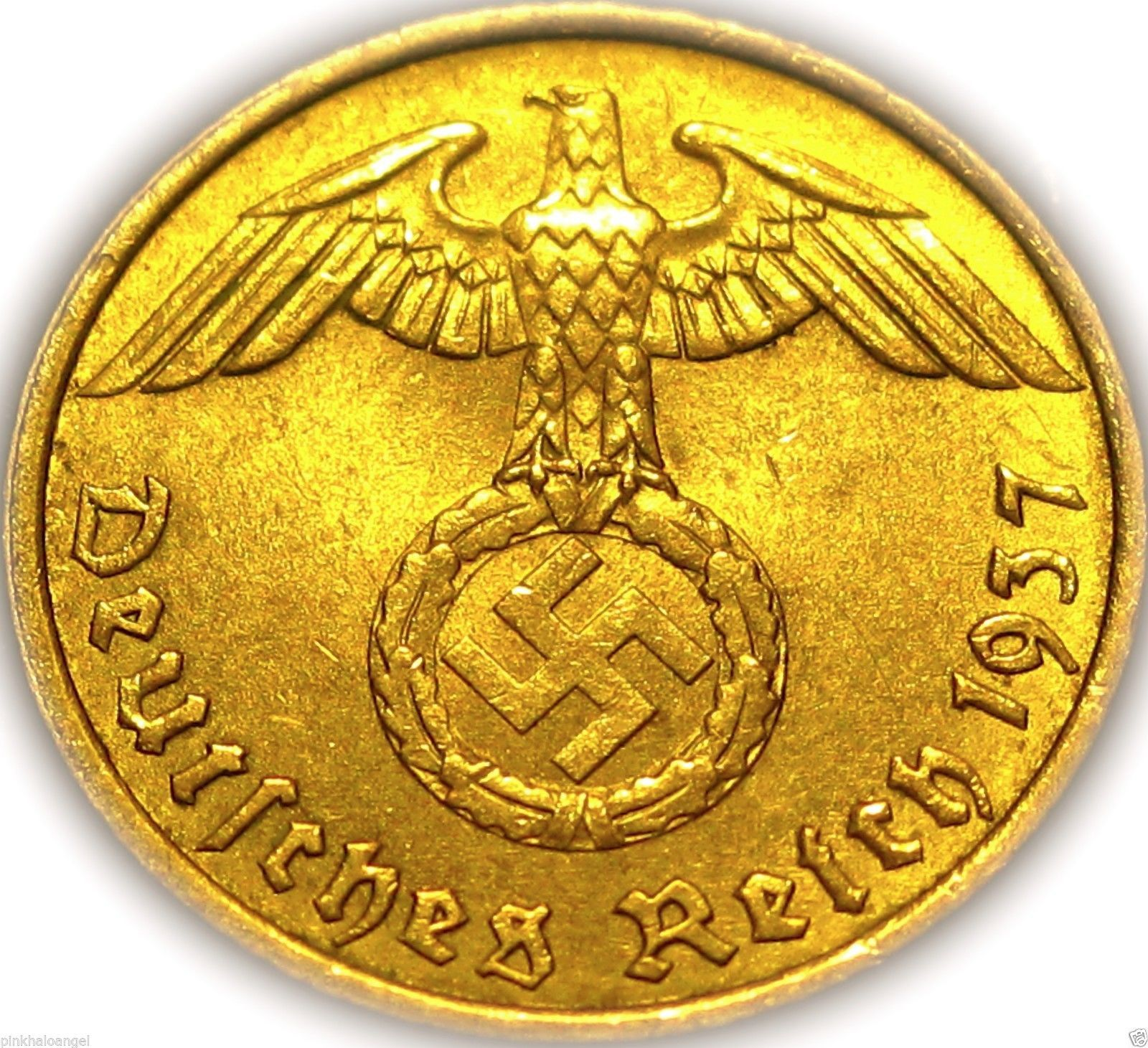 This coin was minted during the German Third Reich Era which included World War 2. Great piece to add to your collection. Very popular and very rare - Beautiful Gold Design and Shine - Authenticated b