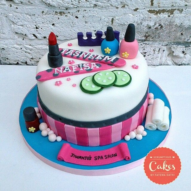 Instagram Photo By Cakesbyfatemadathi Spa Theme Birthday Cake