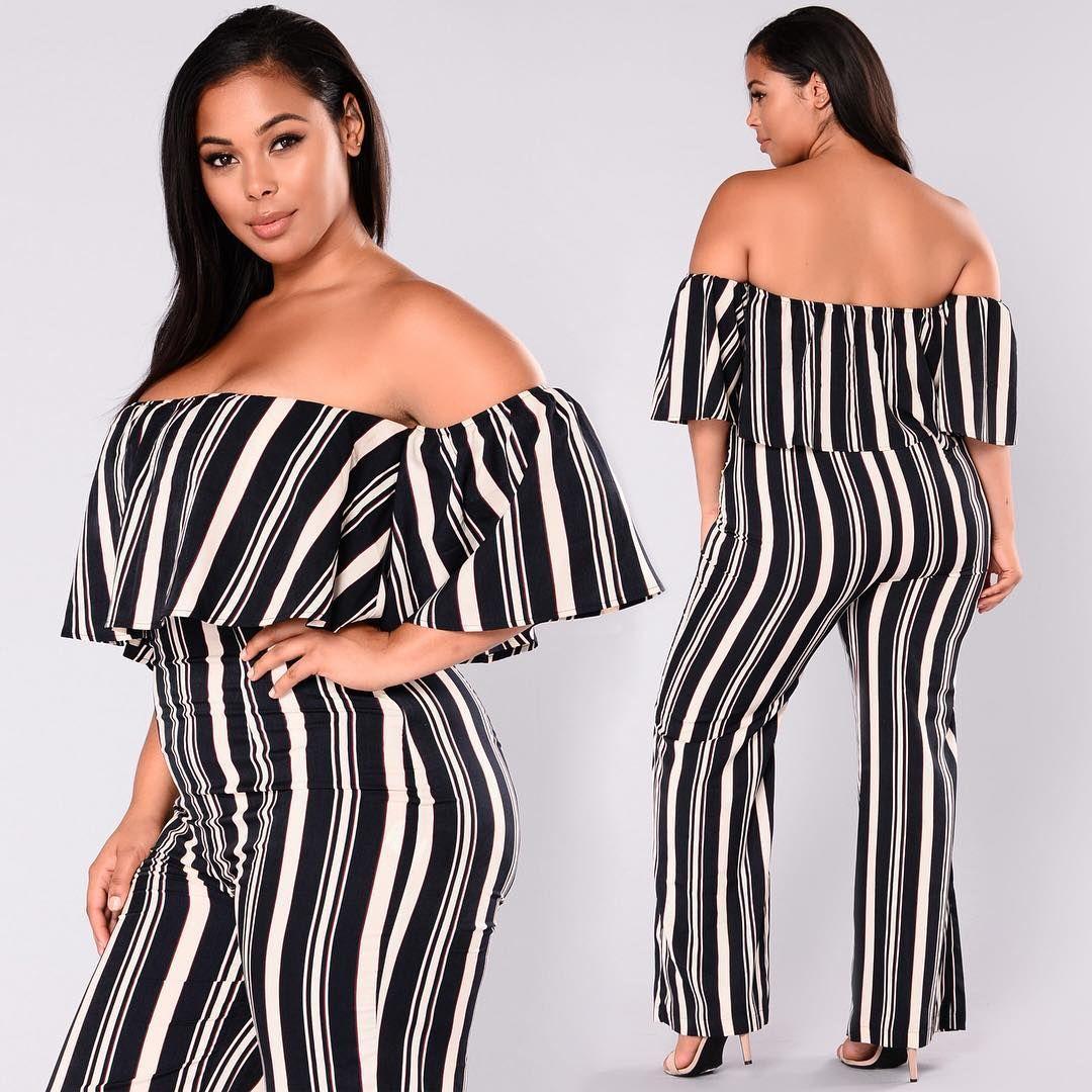 Plus Size Curves Fashion Novacurve Josie Striped Jumpsuit