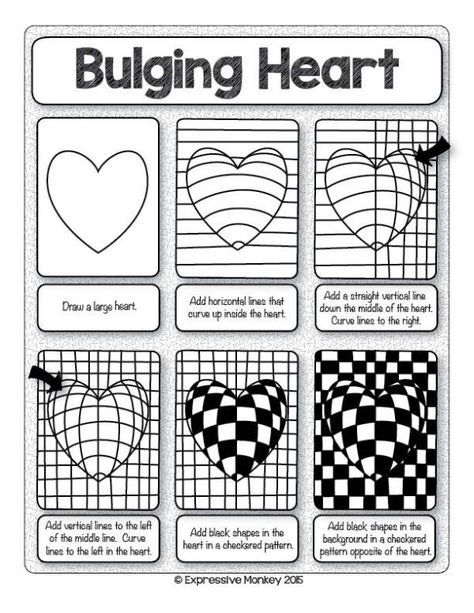 Make This Op Art Heart With Step By Step Instructions Sent Some Heart Art For Valentines Day By Dina Op Art Lessons Art Worksheets Valentines Art Optical illusion worksheets