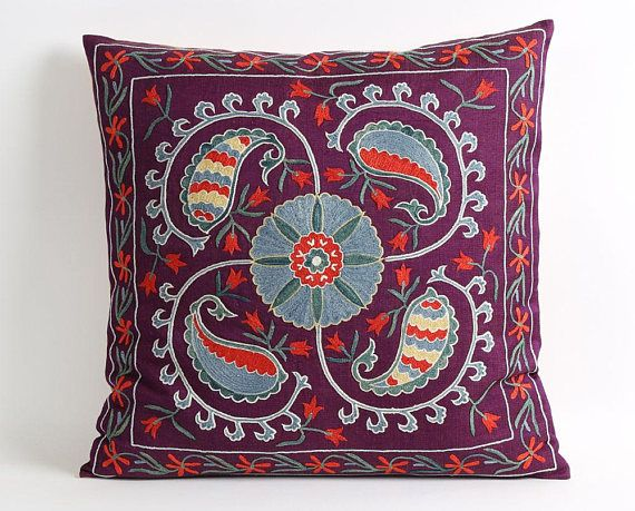 suzani pillows embroidery mid century modern silk cushion cover floral pillow cover boho bedroom dec