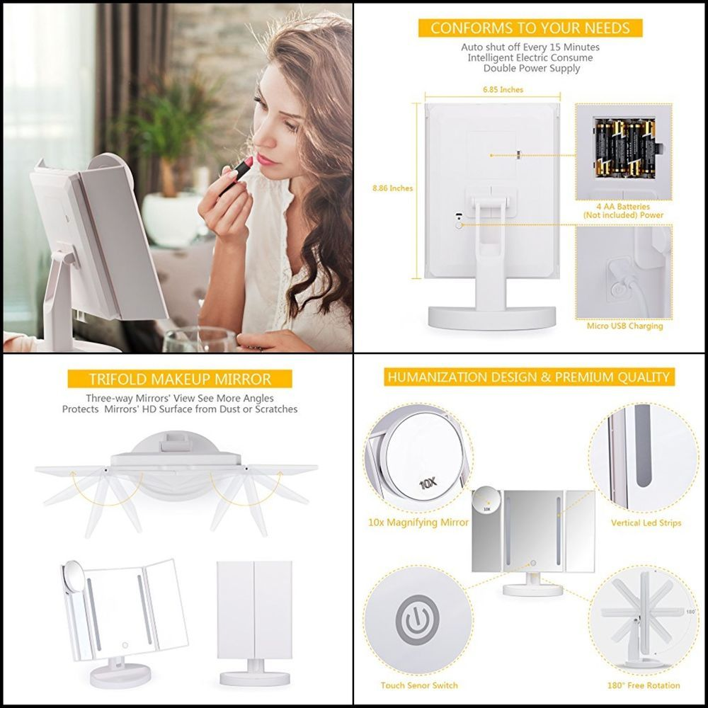 Lighted Vanity Makeup Mirror Magnifying Soft Led