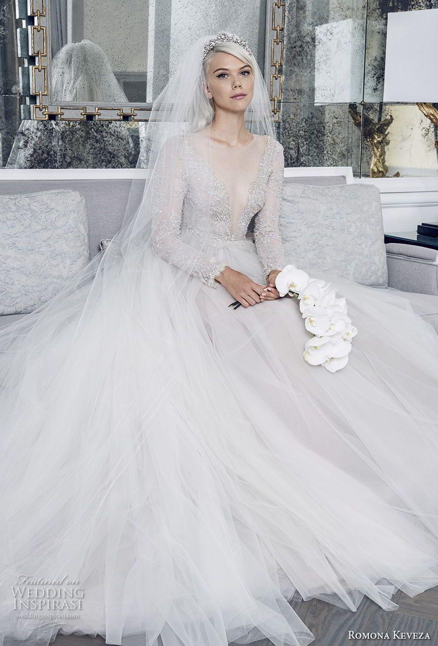 Romona Keveza Herbst 2018 Braut ärmellos eine Schulter voller ...