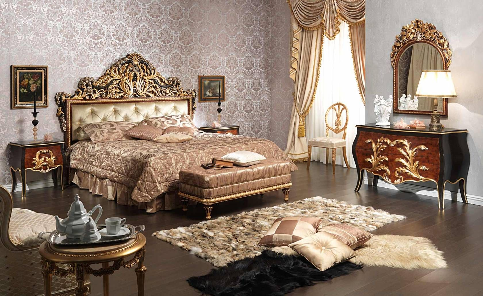 Louis Xv Bedroom Furniture Classic Bedroom Emperador Black Carved Wood Black And Gold Leaf
