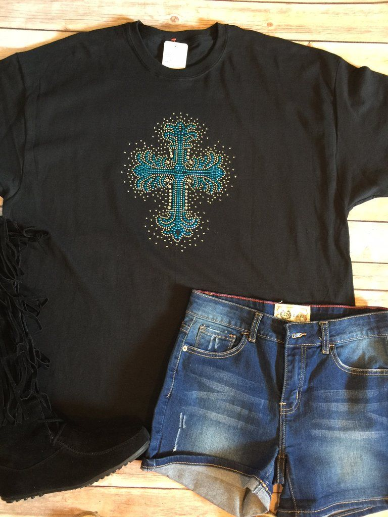 100% cotton unisex T with beautifulstuds and bling cross. Small 4-6, medium 8-10, large 12-14, XL 16-18, 2X 20-22, 3X 24-26 Classy Cowgirl Co-…