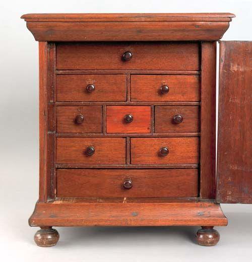 Interior View of the Fine Chester walnut inlaid spice box, 18th c.