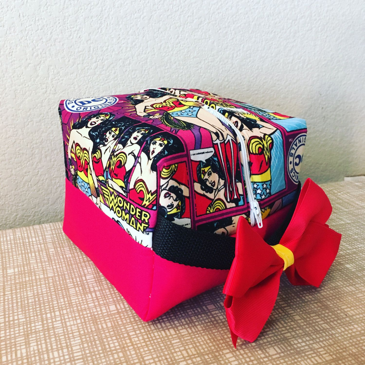 Wonder Woman cosmetic bag by MandasMeanSeams on Etsy
