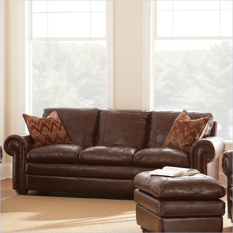Steve Silver Company Yosemite Leather Sofa In Chestnut With Two
