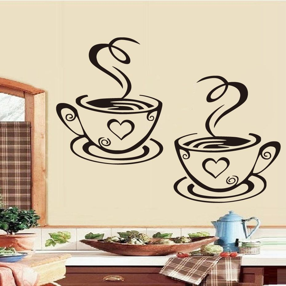 Double Coffee Cups Wall Sticker For Kitchen Kitchen Wall Art