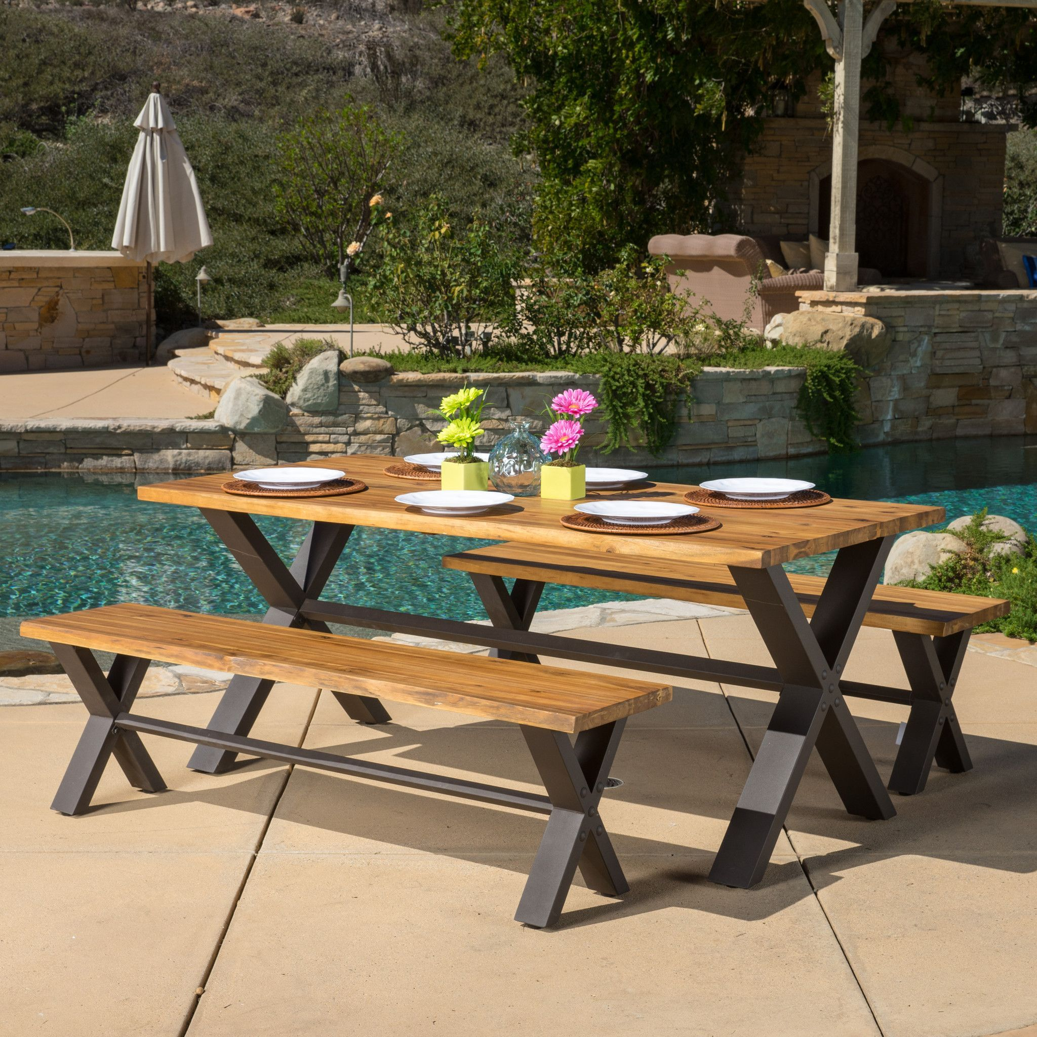 Laurel Outdoor 3 piece Solid Wood Dining Set