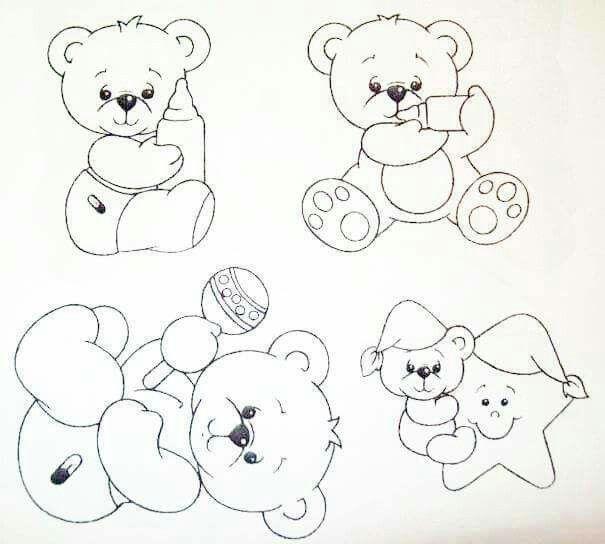 Ursinhos Pinturas Em Tecido Fraldas Riscos Para Pintura E
