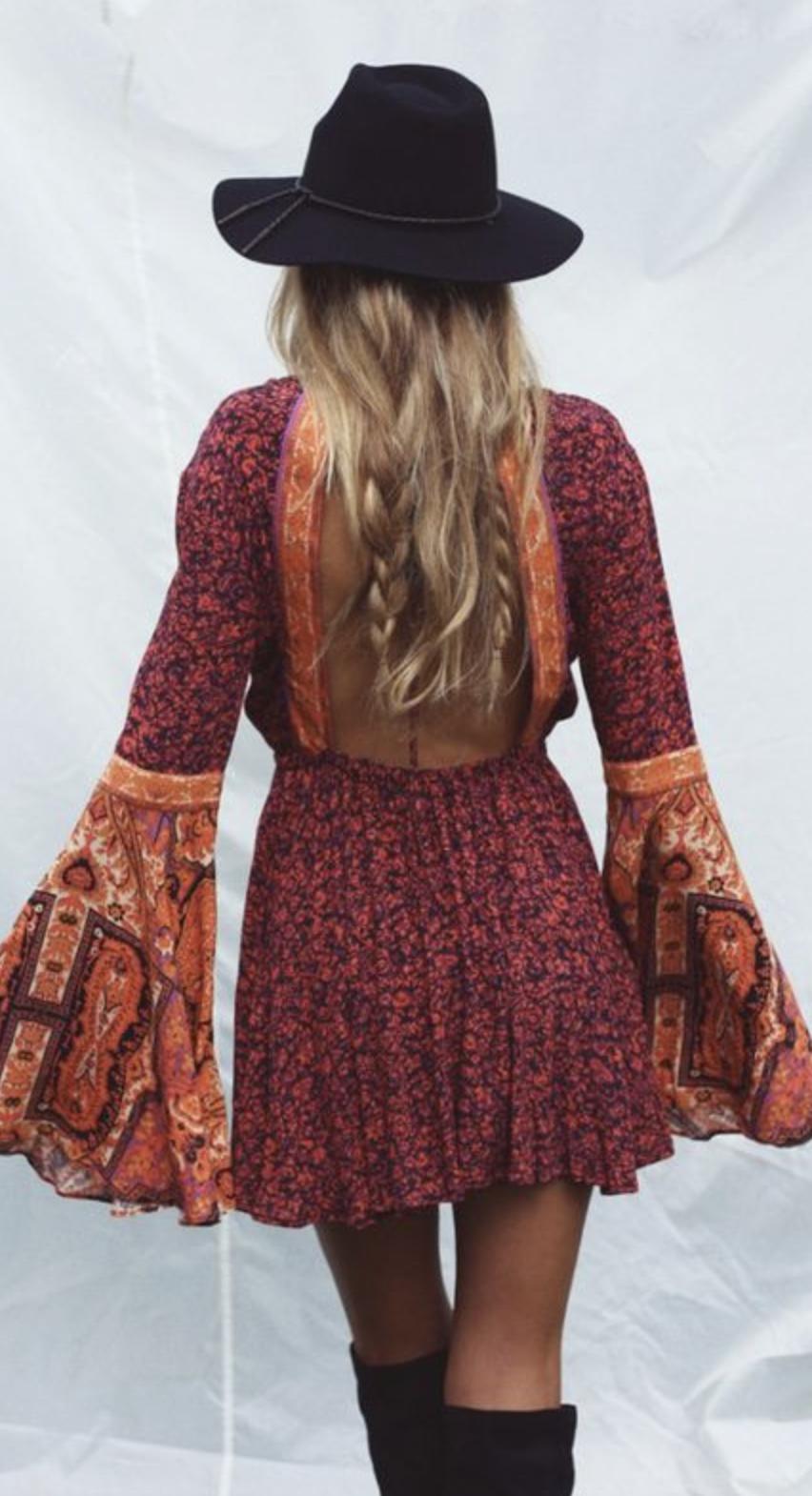 boho dress + flat brim hat  dc26e7ab490