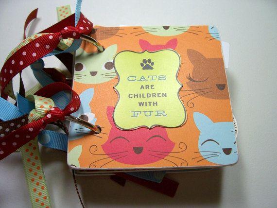 Cat Premade Mini Scrapbook Album Cat Mini Album by HampshireRose, $20.00