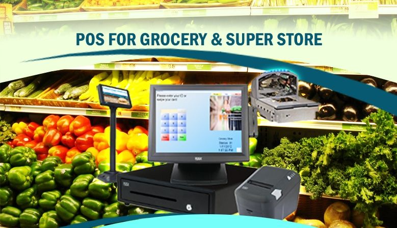 POS for grocery and super store for scanning, printing