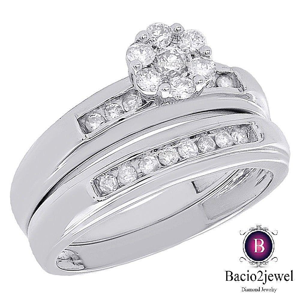 14k White Gold Round Diamond Flower Engagement Wedding Band 2 pc