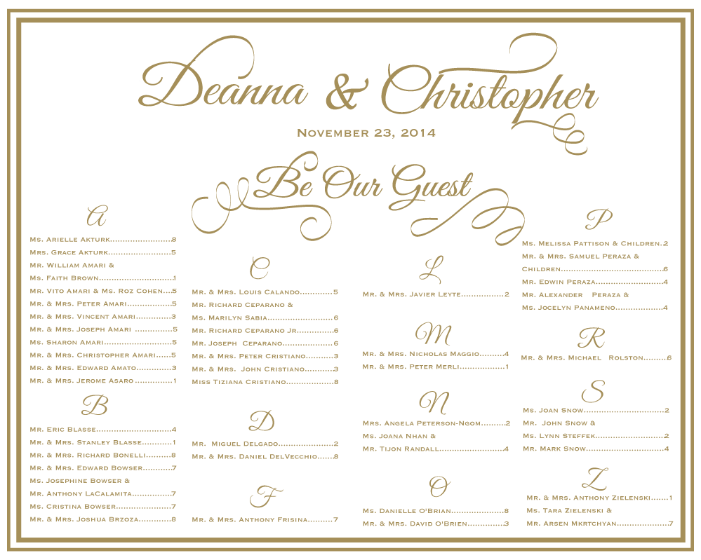 Wedding seating template chart perfect for a reception vs