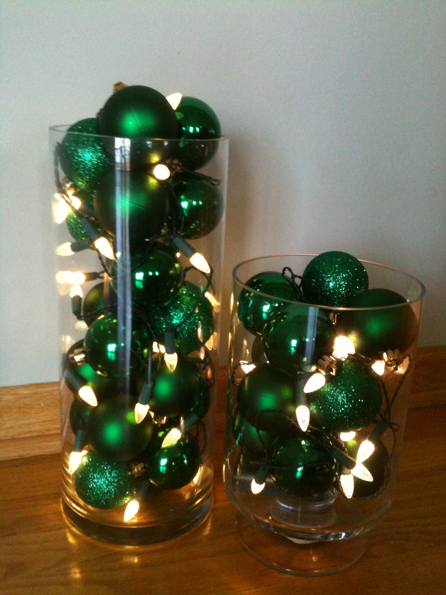 An Easy Deco Tall Glass Vases With Ornaments And Battery