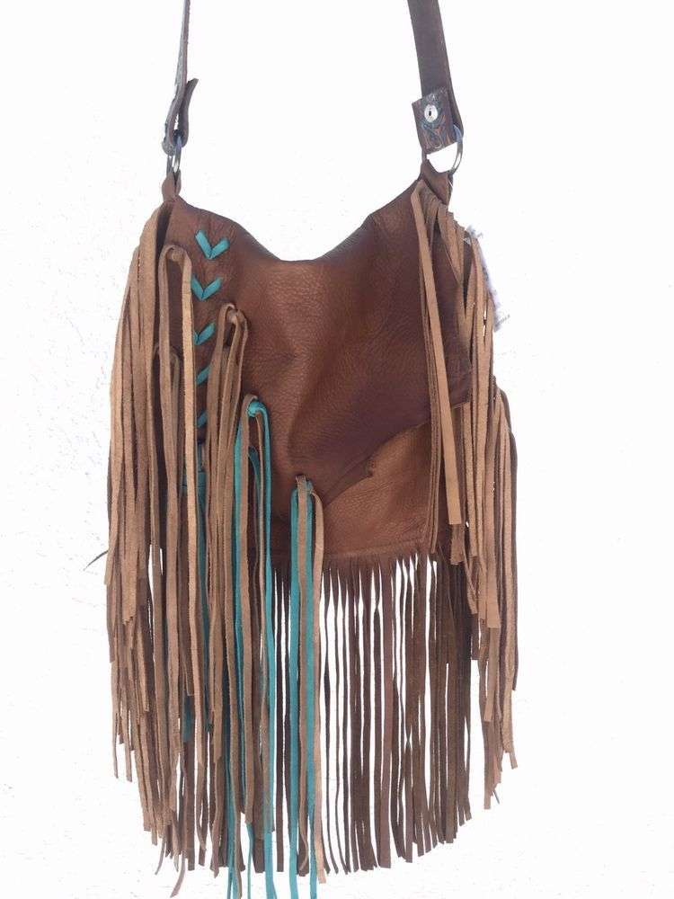Cross Body Style Leather Purse Color Turquoise Brown Single Strap Handle Not Adjule Hand Threaded Detail On The Front