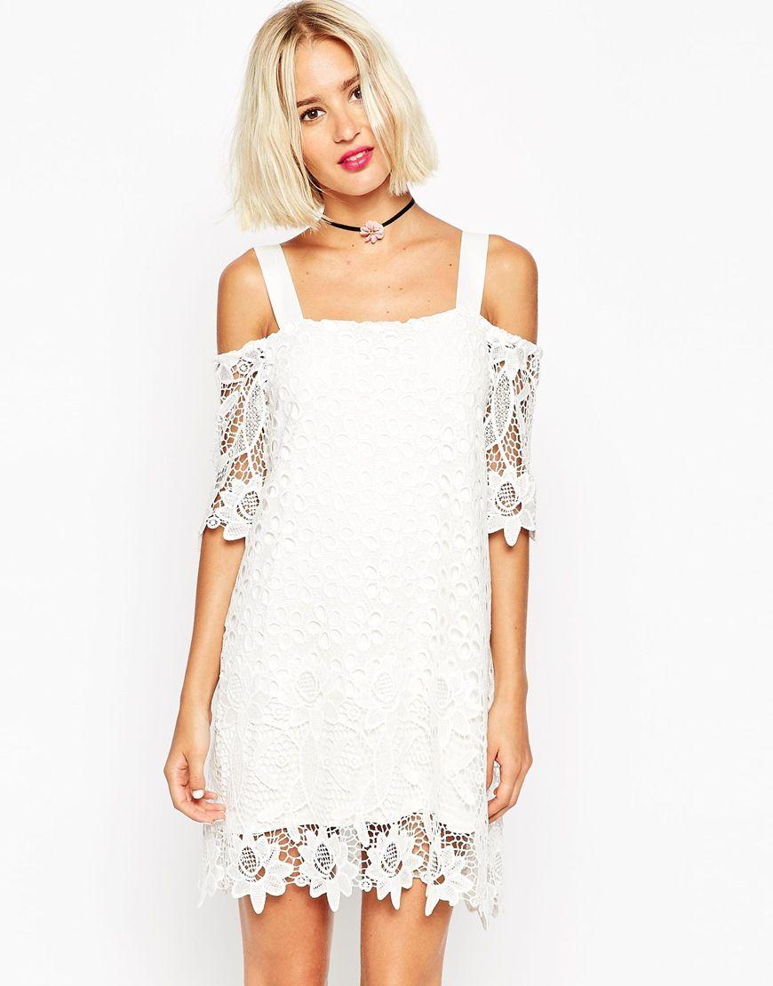 Image 1 ofASOS Border Lace Cold Shoulder Dress