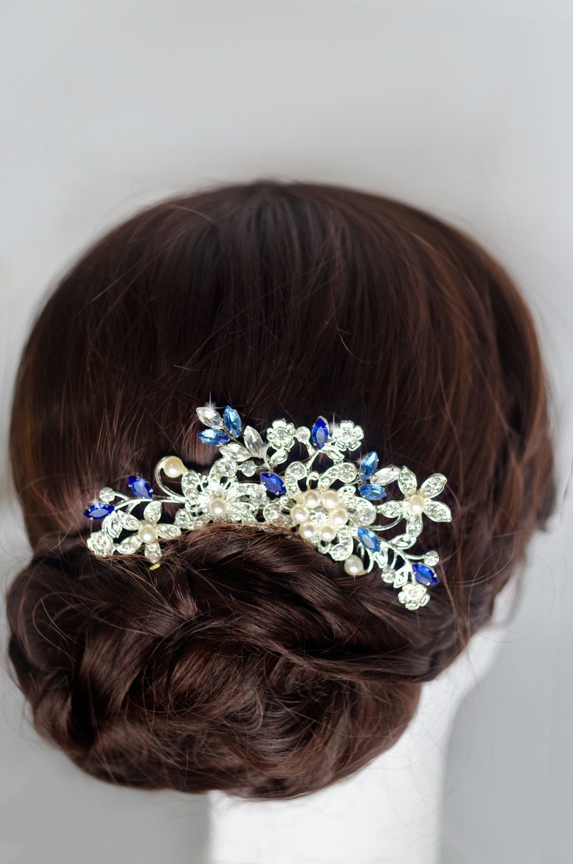 blue bridal hair comb something blue hair comb sapphire blue