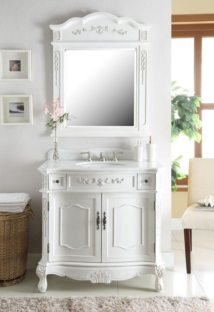 36 Classic Antique White Fairmont Bathroom Sink Vanity Mirror
