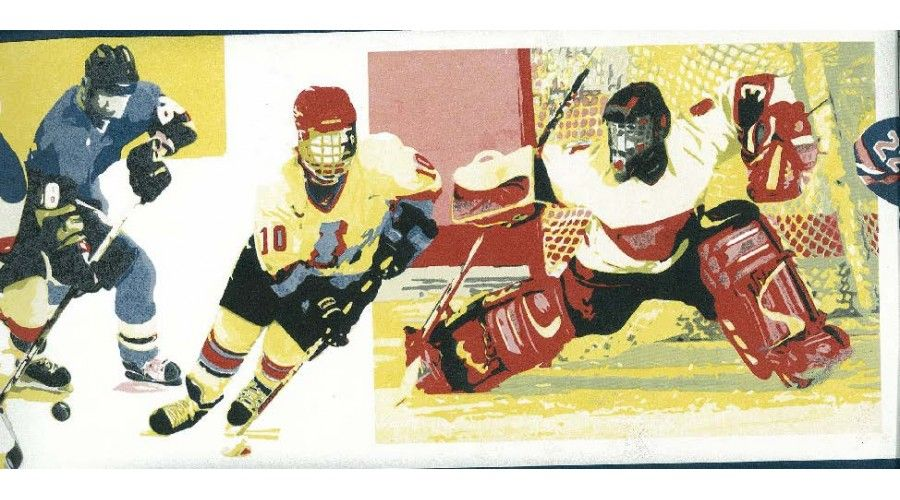 Prepasted Wallpaper Borders Yellow Watch Me Grow Hockey Wall Paper Border Wallpaper Prepasted Wallpaper Borders For Paper