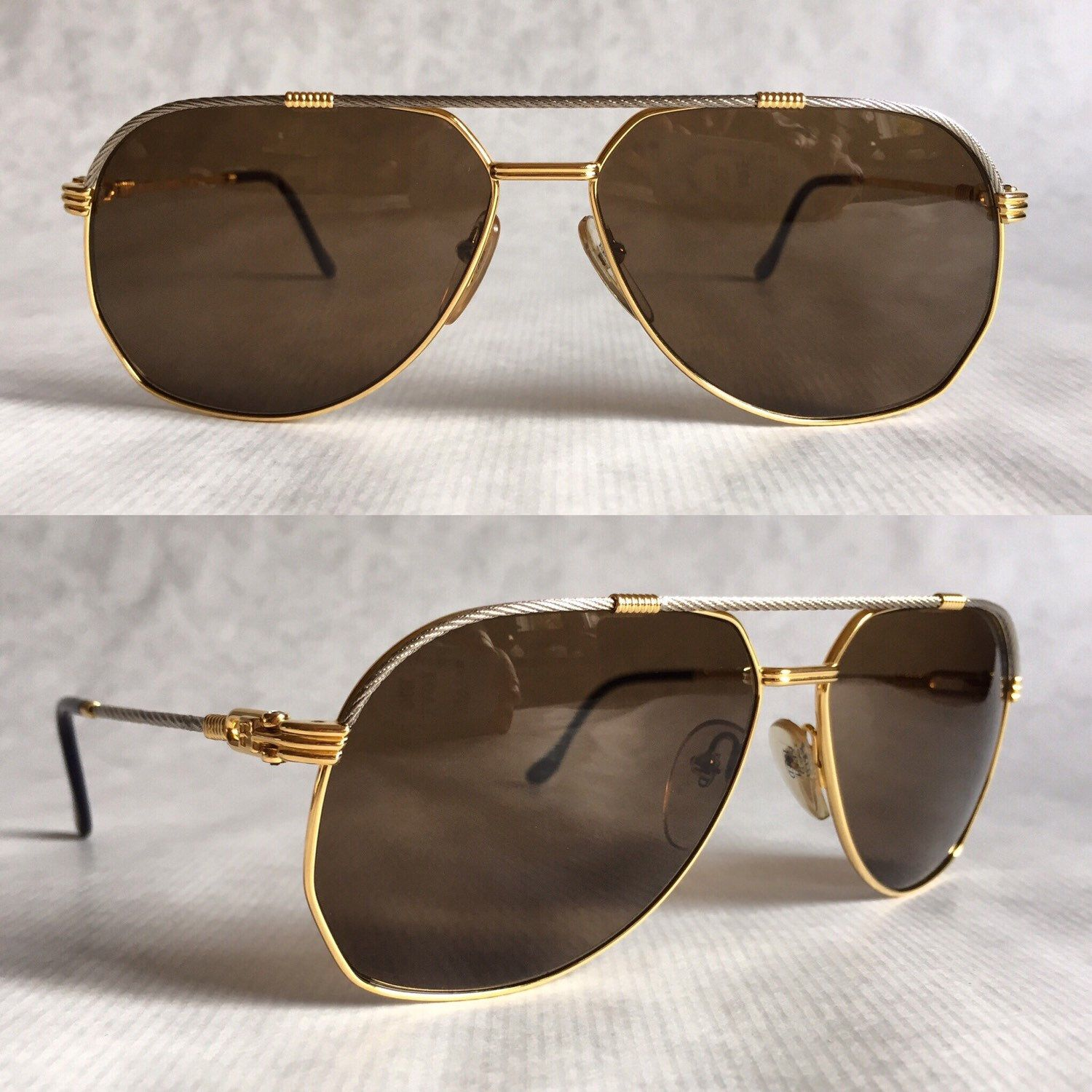 90a7aed4094 Fred America Cup 64 14 Gold Plated Vintage Sunglasses