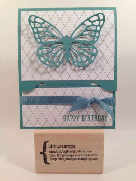 libbystamps, Stampin' Up, stampinup, B.Y.O.P. Stamp Set, Butterfly Thinlits, Something Borrowed DSP, Lost Lagoon 3/8 Silky Taffeta, Envelope Punch Board,  pop up gift card