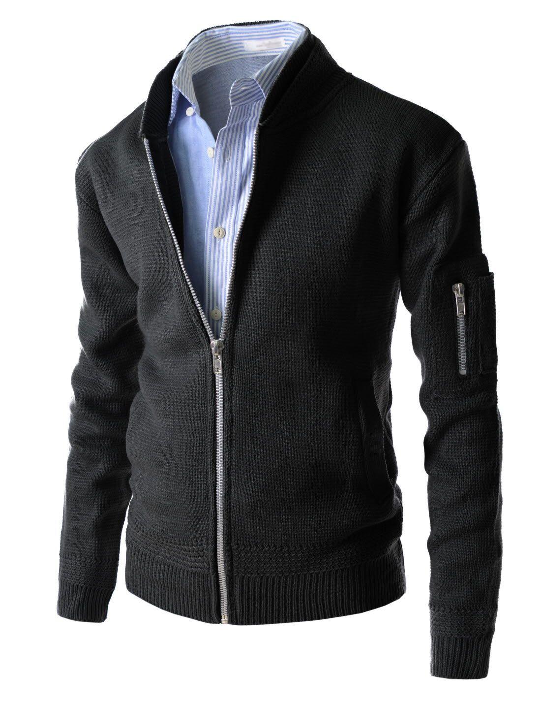 Bomber Jacket Style Double Neck Zipup Long Sleeve Blouson