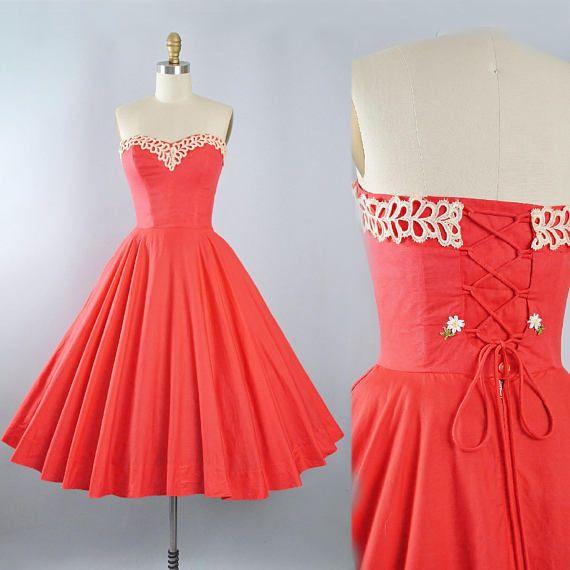d59d0d1b69 RESERVED 50s Dress   1950s Cotton Sundress Strapless SWEETHEART BUST ...