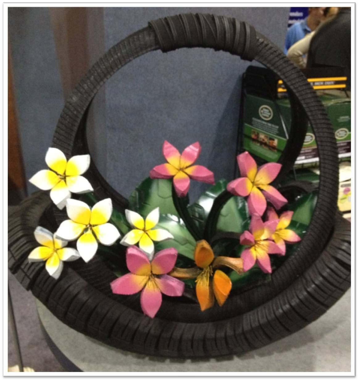 Flower basket made from tires at the 2013 Goodyear Conference ...