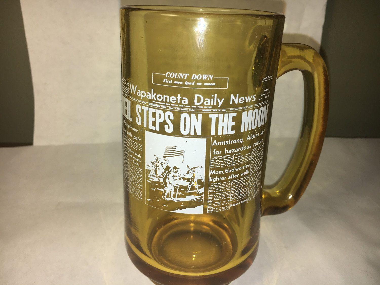Vintage Moon Mug Glass Souvenir Mug Gold White Collectible Mug Amber Neil