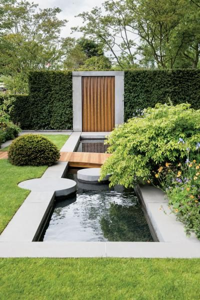 Artistic Water Feature Using Concrete And Wood