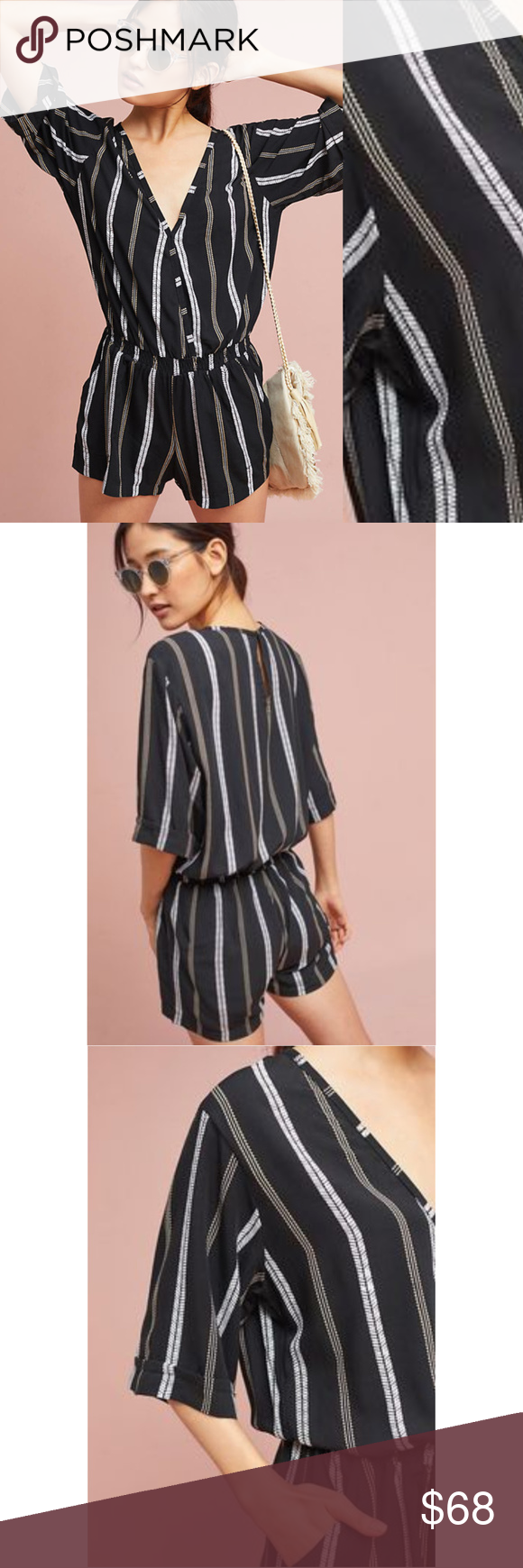 187c77eb156 NWT ANTHROPOLOGIE Beachgold Ancona Striped Romper Brand new with tags NWT  ANTHROPOLOGIE Beachgold Ancona Striped Romper