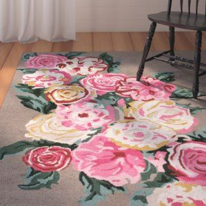 Jeanlouis Hand Hooked Light Brown Pink Area Rug