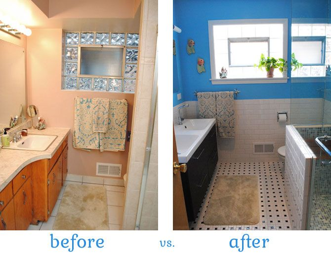 before and after of retro inspired bathroom renovation by gum by golly