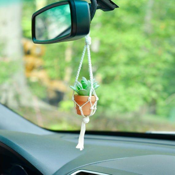 Car Plant Hanger, Mini Macrame Faux Succulent, Succulent Plant Hanger, Car Accessory, Interior Car Accessories, Car Charm, Boho Gift