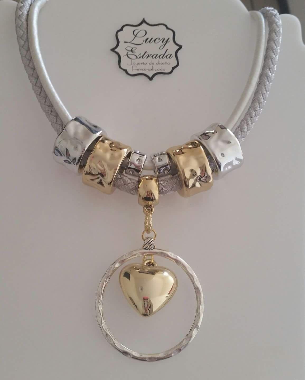938bfec60219  collar  dorado  plateado  corazón  bisuteriafina  bisuteria  handmade   hechoamano  accesorios  accsLucyEstrada  accs