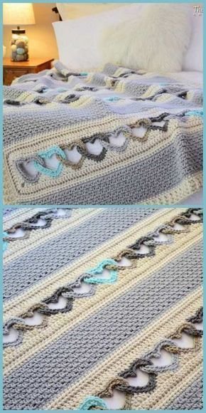 How to Crochet Interlocking Hearts Pattern [Free Tutorial] With All My Heart - blanket pattern, heart afghan pattern, linked hearts blanket pattern