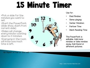 free this 15 minute timer is set up in a powerpoint presentation it is set