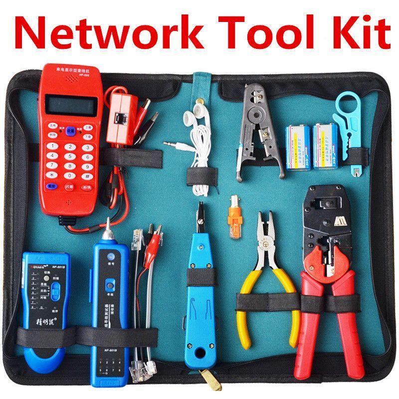 NF-801B RJ45 RJ11 USB Network Tool Kit Ethernet Cable Tester Crimper Stripper Tool Set