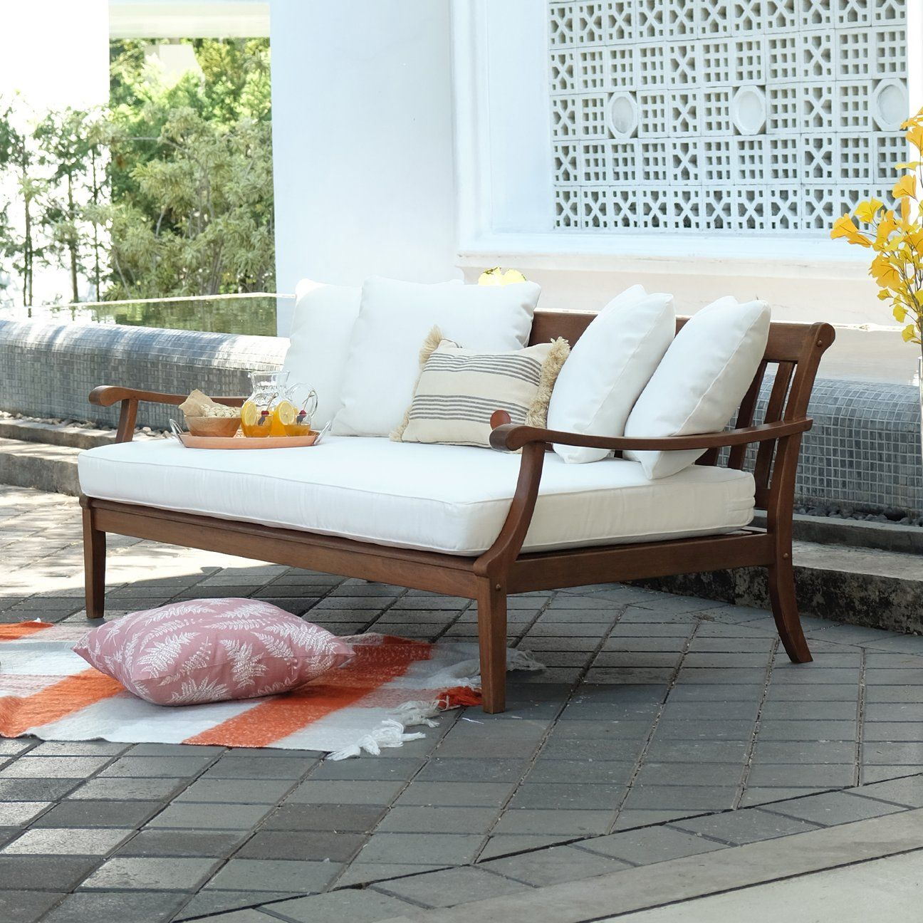 Maine Solid Wood Outdoor Sofa Day Bed With White Cushion Outdoor Sofa Wood Daybed Patio Daybed