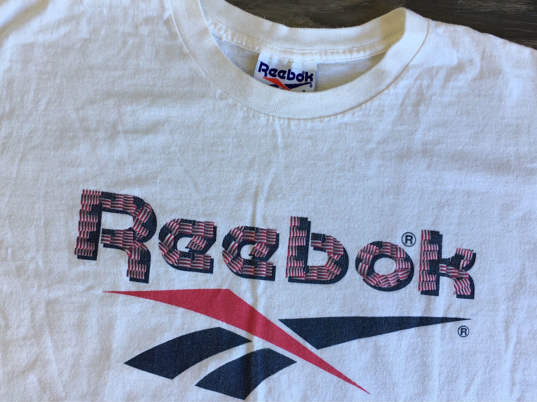 93603e8bd REEBOK Flag Shirt 90 s Vintage USA Single Stitch Tshirt Red White And Blue  Big Logo Rare Workout Sportswear Athletic Tee Large by sweetVTGtshirt on  Etsy