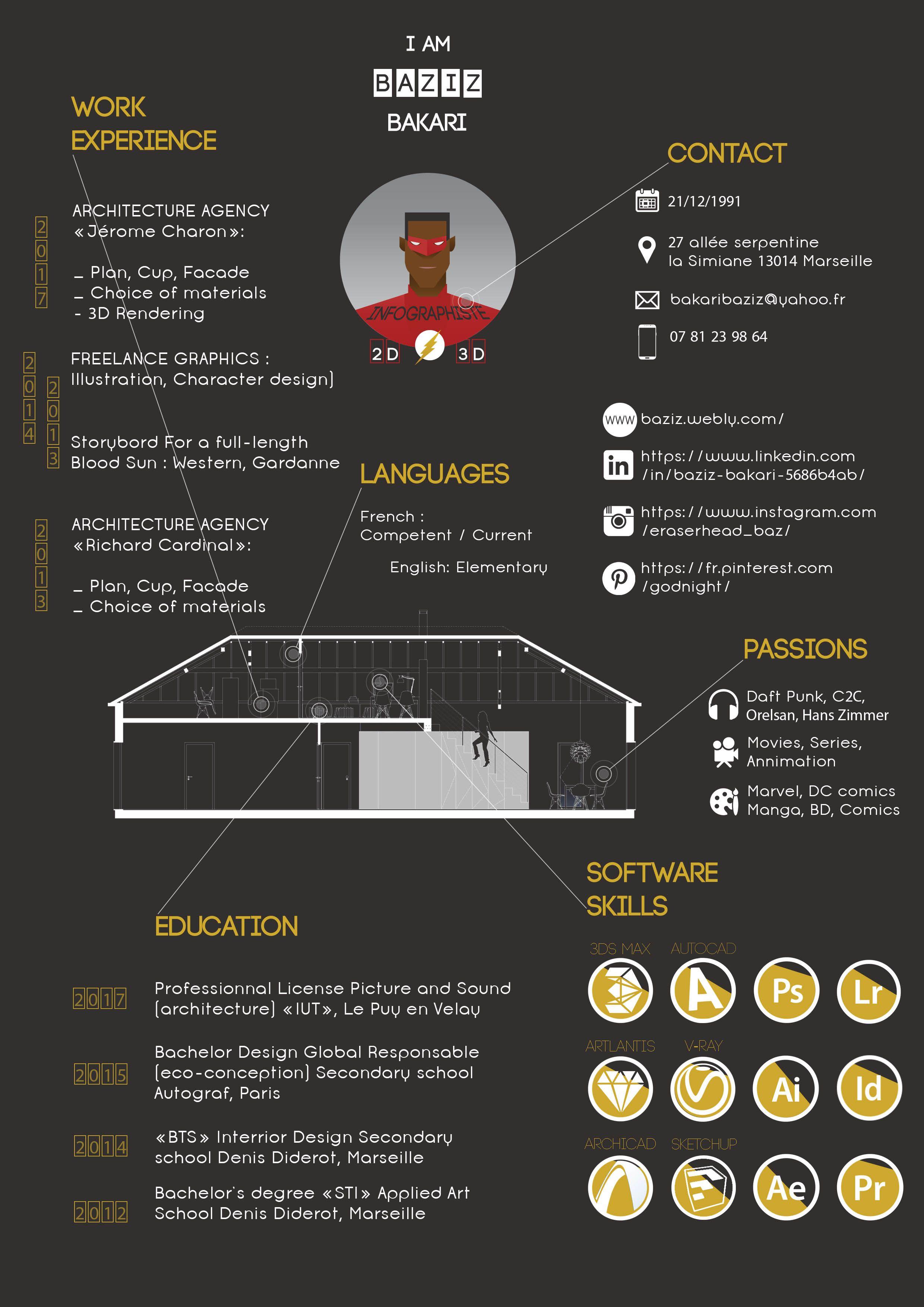 Curriculum Vitae By Baziz Bakari Infographiste Infographiste3d Infographiste2d Illustrateur Archit Modele De Cv Creatif Cv Infographiste Design Cv Creatif